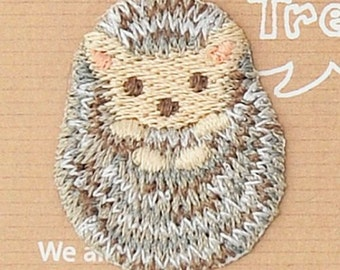 Hedgehog Patch - Animal Embroidered Iron On Patch, Japanese Kawaii Hedgehog Iron on Applique,  Made in Japan, Embroidery Applique, W002