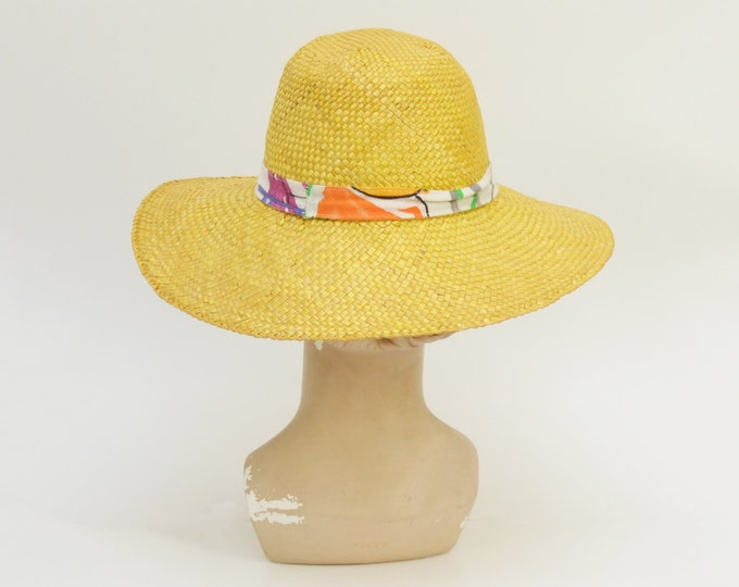 Vintage 1980s Wide Brim Straw Hat