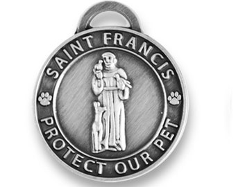 SM Saint Francis Antique Silver Pet ID Tag  St Francis Dog Tag  Religious Medals For Pets  Pet ID Tags  Dog Tag   Silver Pet Tag  Cat Tag