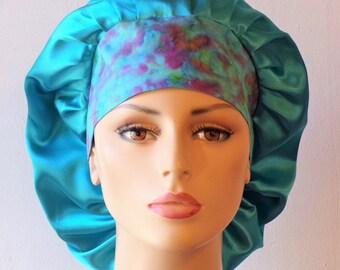 Last One Scrub Hats Satin Bouffant/Turquoise Satin Scrub Cap/Women Scrub Hats/Sleeping Bonnet/Satin with a Tie Dye Headband/Beauty Bonnet