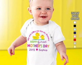 Happy First Mother's Day - No One Loves me Like my Mommy - Bodysuit - Girls - Personalized with Name and Year