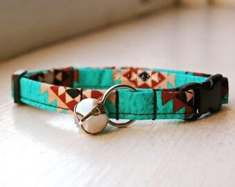 Teal Tribal Cat Collar, Breakaway Cat Collar, Handmade Cat Collar, Cat Accessories, Pet Accessories, Fabric Cat Collar, Southwest Turquoise