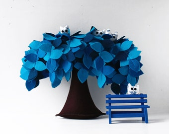 Blue Weeping willow,  Felt Tree, Children room Decor, Housewarming gift, It's a boy, Baby shower gift