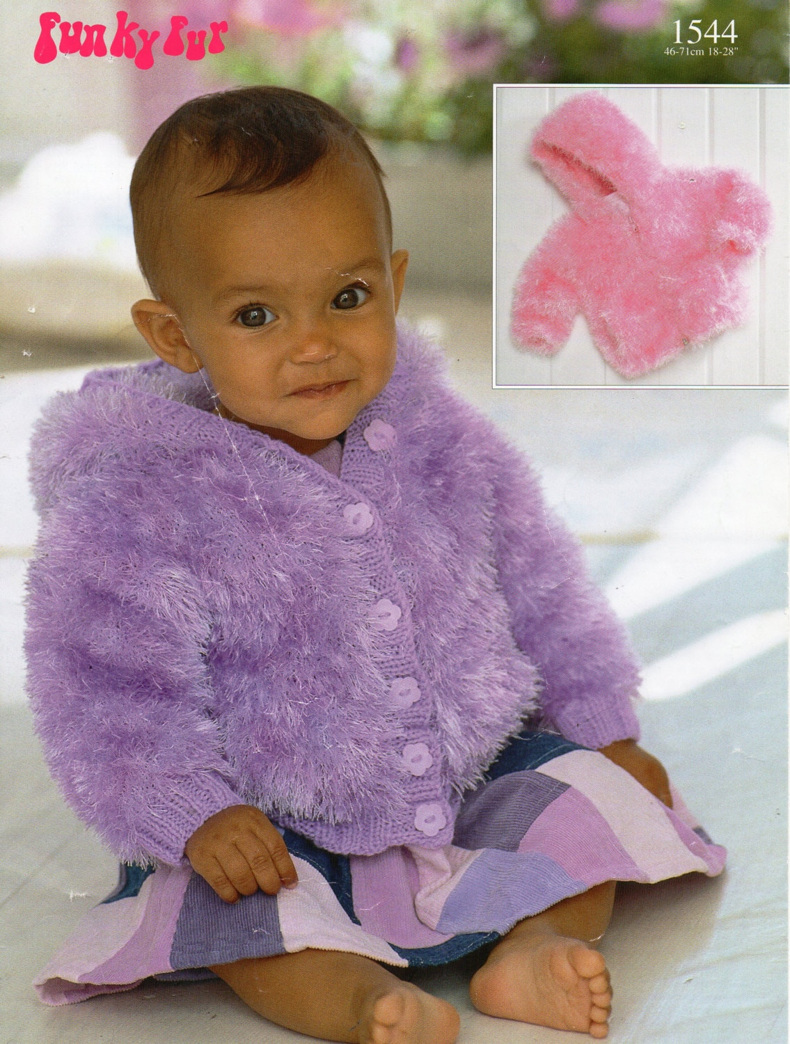 baby toddler childrens furry jacket with hood knitting pattern