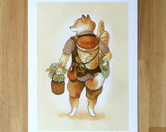 Shiba Inu with Groceries - Fine Art Print by Nicole Gustafsson