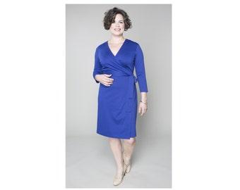 Classic Wrap Dress Sheath Ponte 4 Lengths Misses & Plus Sizes 2-28
