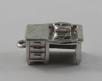 Office Desk with Typewriter Sterling Silver Vintage Charm For Bracelet