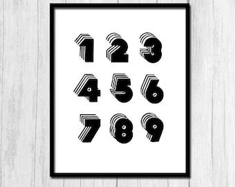 Number Print Math Art Digital Download Number Printable Office Decor Printable Poster Numbers Poster Digital Poster 1 2 3 4 5 6 7 8 9 Art