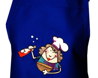 I Cook with Wine Embroidered Apron image of Chef that looks like Julia Child! For happy chefs in Kitchens and Outdoors.