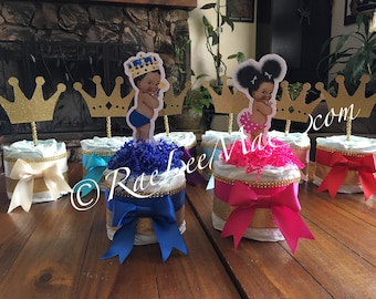 Little diva diapercake mini/vintage baby diaper cake/hot pink and gold princess baby shower/vintage baby shower/girl baby shower/afro puff