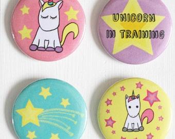 Unicorn Badges, Unicorn Button Badges, Pack of Four Illustrated Unicorn Badges, Pack of Unicorn Button Badges, Unicorn Pin Badges