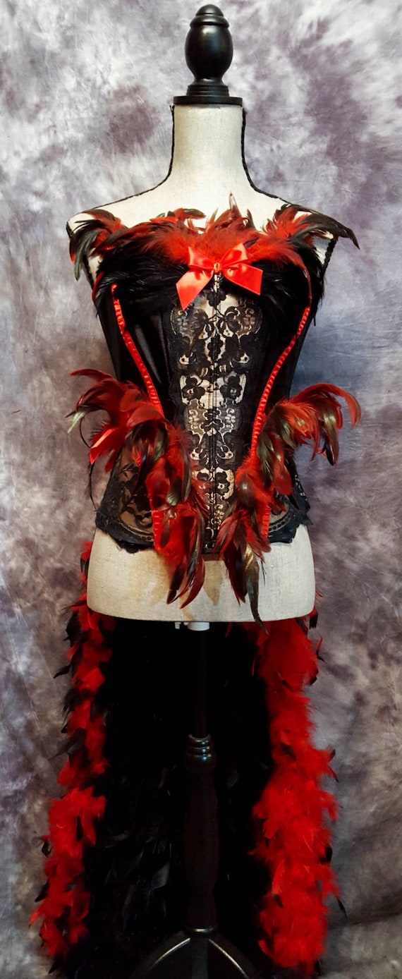 FIREBIRD Raven Feather Burlesque Costume red black cosplay victorian lace corset