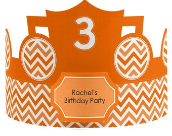 8 Custom Party Hat - Chevron Orange Birthday Party Supplies - Set of 8