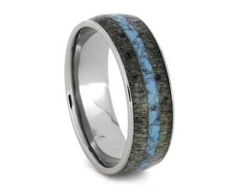 Crushed Turquoise Ring, Deer Antler Wedding Band Made With Titanium, Unique Ring For Him