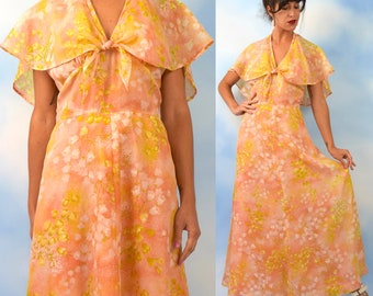 Vintage 70s does 30s Peach Floral Tie Front Halter Back A Line Maxi Dress (size small, medium)