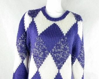 30% SPRING SALE Vintage 1980s 80s Christinas Purple White Diamond Argyle Print Thick Long Sleeve Novelty Crewneck Sweater Sz Medium