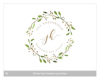 Vintage Logo Design, Shop Logo, Photography Logo, Blog Logo, Rustic premade Logo, watercolor wreath, Nature logos, Botanical logo, Logos