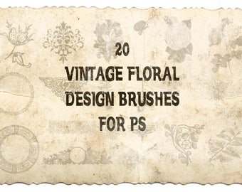 Buy 3 get one free. 20 x Vintage Floral Brushes for Photoshop, Beatiuful Designs, CUOK, Instant Download.