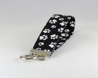 White Paw Prints Key Fob - Key Chain - Key Fob Wristlet - Key Holder - Key Strap - Fabric Key Chain