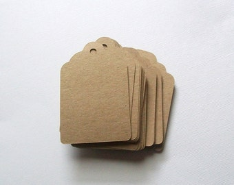 Die Cut Tags with Holes - Brown Kraft Paper Card Stock - 3 inch (set of 40)