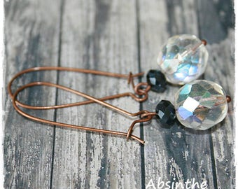 Earrings made from faceted glass beads.