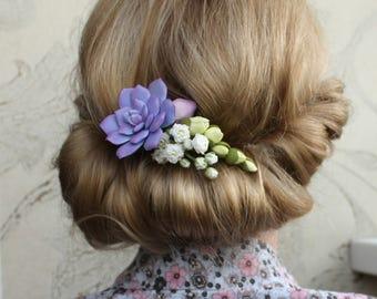 Succulent Bridal hair pin Purple wedding Gypsophila freesia Flower hair pin Purple bridesmaid hair Floral hair accessories Wedding hair pins