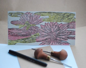 Lotus Flower Lino Print Card