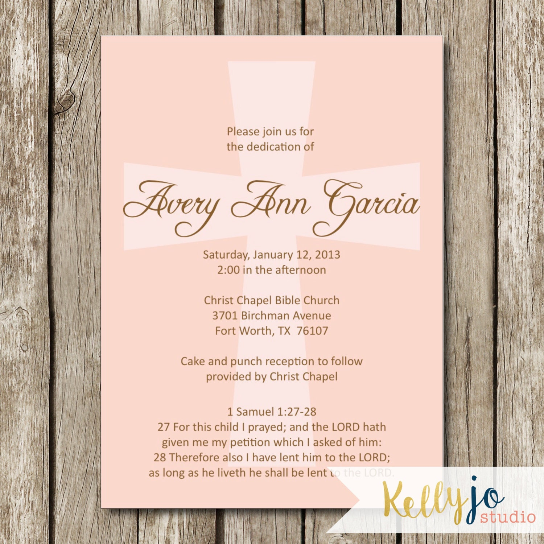 Pink Cross Baby Dedication Invitation Baby Dedication Invite