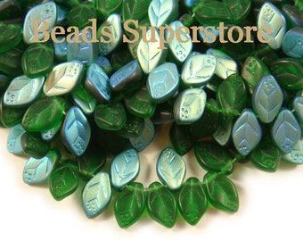 12 mm x 7 mm Matte Green AB Czech Glass Leaf Bead - 25 pcs