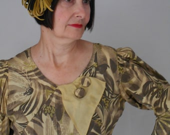 Classic 1930's Multi-colored Graphic Design Day Dress with Matching Felt/Rhinestone Hat