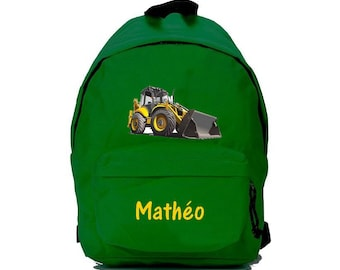 Green backhoe backpack personalized with name