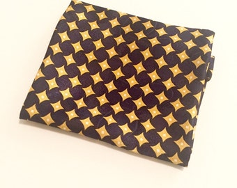 Navy Blue, Gold and White Pocket Square