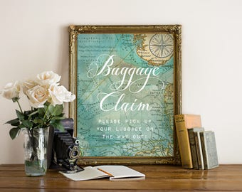 "Printable ""Baggage Claim"" Sign, Travel Weddings, Instant Download! 8x10 inches"