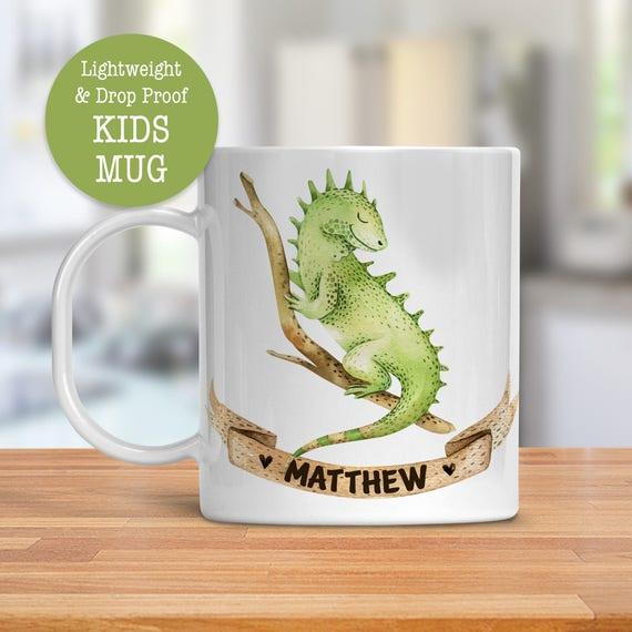 Kids Mug - Personalized Mug - Iguana Cup - Dishwasher Safe - Lightweight Drop Proof Cup for Kids - Plastic Mug for Kid