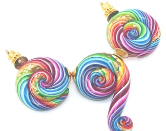 Rainbow swirl colorful beads for birthday polymer jewellery ideas Valentines jewelry making gift for friends men women stocking stuffer 3pcs