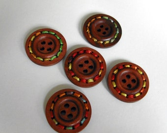5 Brown Wooden Buttons with Rope #EB60