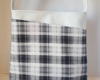 Plaid purse, leather crossbody bag, Gray buffalo plaid, genuine leather, white leather, crossbody purse, everyday bag, READY TO SHIP