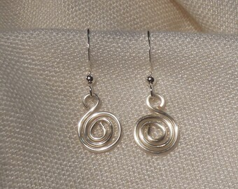 Silver spiral wire earrings