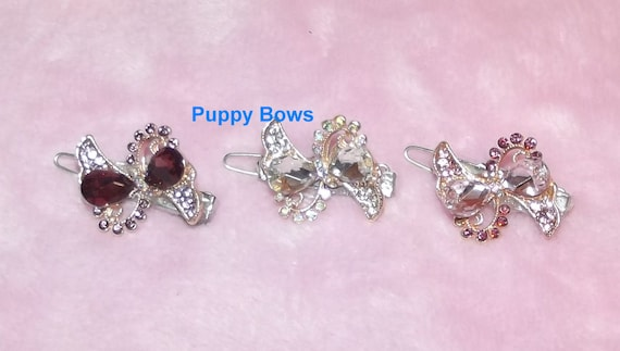 "Puppy Bows ~ Wee super tiny hair clips for dogs bow pet barrette pink purple crystal 1""~ US Seller"