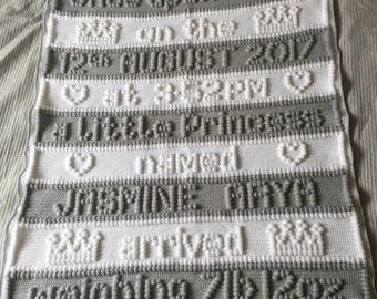 Custom baby blanket, Crochet Princess Blanket, Princess blanket, Once Upon a Time, babyshower gift, blanket baby name, blanket with name