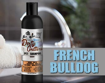 French Bulldog Herbal Pet Dog Cat Shampoo Wash Dirty Critters 8 ounce bottle
