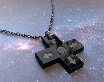 Black D-Pad Necklace, Direction Controller Button Pendant Necklace for Awesome Gamers