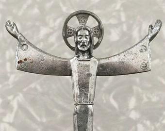 Vintage Jesus Statue - Small Silver Plastic Christ Figurine