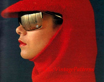 Knitted Balaclava with Brim ... Ladies Balaclava ... Vintage PDF Knitting Pattern ... Warm, Cosy, Winter Balaclava Hat ... Sking Hat
