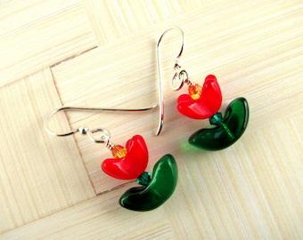 Red Tulip Earrings, Flower Earrings, Swarovski Earrings, Red Earrings, Dangle Earrings, Summer Earrings, Everyday Earrings, Flower Jewelry