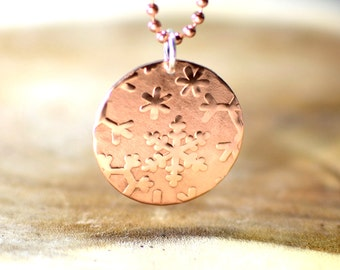 Copper Snowflake Disc Charm Necklace with Hammered Texture - NL212