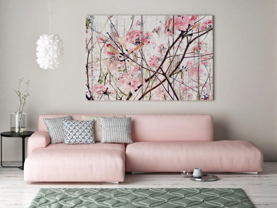 ORL-5922-1 Here's The Spring, Pink Blooming Tree, Landscape Art, Shabby Chic Spring Tree Canvas Art, Cottage Chic Canvas Art Print up to 72""