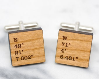 Coordinate Cufflinks, Custom Coordinates, Personalized Secret Message Cufflinks, Cuff Links with Co-ordinates, Square Coordinate Cufflinks