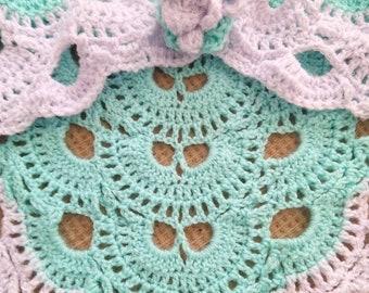 Handmade crochet shawl and brooch