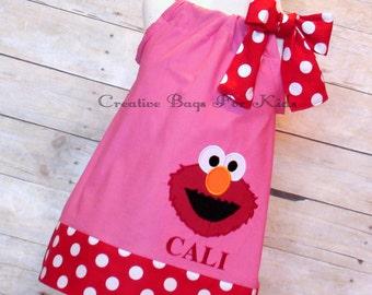 Elmo dress/ Personalized Elmo dress/ Elmo outfit/ Sesame Street dress (matching bag available)